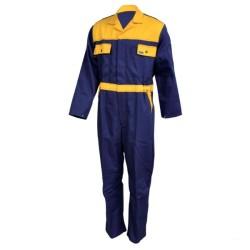 Combinaison de travail en coton - Bleu marine / jaune