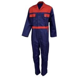 Combinaison de travail en coton - Bleu marine / rouge