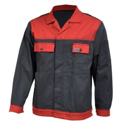 Veste de travail en coton - Anthracite / rouge
