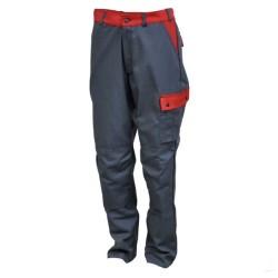Pantalon de travail en coton - Gris / rouge