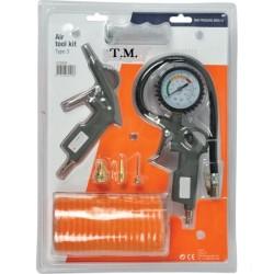 Kit compresseur raccord 1/4 rapide , soufflette, mesure de pression pneu, tuyau 1/4