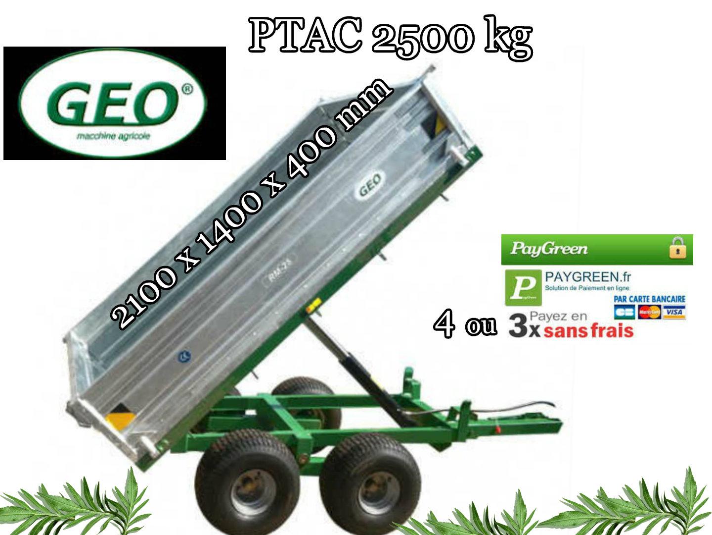 Remorque pour tracteur 2500 kg basculante hydraulique • Pour ...