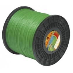 Fil nylon diam.: 2,4mm, section: arˆtes, couleur: vert, bobine 325m