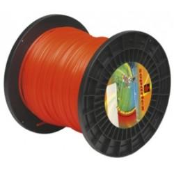 Fil nylon diam.: 3,5mm, section: arêtes, couleur: rouge fluo, bobine 145m