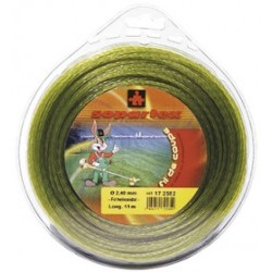Fil nylon diam.: 2,4mm, section: h'lico‹dale, couleur: kaki, mini spool 15m